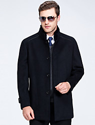 Men's Daily Simple Casual Winter Fall Coat,Solid Stand Long Sleeves Regular Wool Polyester