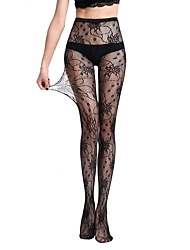 cheap -Women's Hosiery Thin Pantyhose,Nylon Jacquard One-piece Suit Black