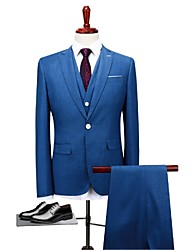 cheap -Blue Standard Fit Polyester Suit - Peaked Lapel Turndown Single Breasted One-button