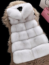 Women's Daily Going out Simple Casual Winter Fall Fur Coat,Solid Hooded Sleeveless Regular Faux Fur