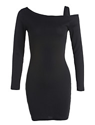 Women's Party Daily Sexy Bodycon Dress,Solid Off Shoulder Above Knee Long Sleeves Acrylic Fall High Waist Micro-elastic Medium