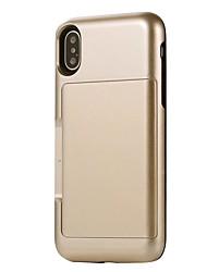 Недорогие -Кейс для Назначение Apple iPhone X iPhone 8 Бумажник для карт Защита от удара Кейс на заднюю панель Сплошной цвет броня Твердый ПК для