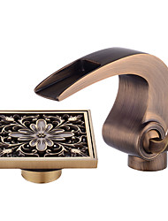 Недорогие -По центру Водопад Керамический клапан Одной ручкой одно отверстие Античная медь , Ванная раковина кран
