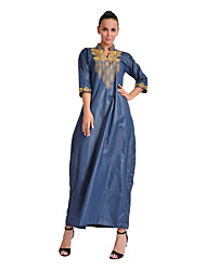 cheap -Women's Daily Tunic Dress,Solid Print V Neck Maxi Half Sleeve Polyester All Season Mid Rise Micro-elastic Opaque