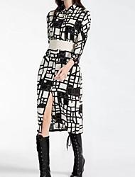 economico -Cappotti Da donna Casual Semplice Inverno,Con stampe A quadri A V Cotone Acrilico Lungo Maniche lunghe