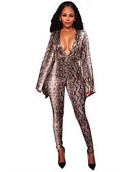 cheap -Women's Stage Sexy Animal Print V Neck Bodysuit,Skinny Long Sleeve Fall Polyester Elastane