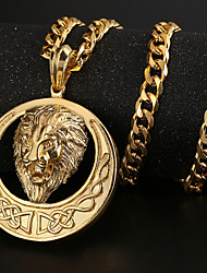 cheap -Women's Pendant Necklace - Gold Plated Lion Vintage, Hip-Hop Gold, Black, Silver Necklace For Party, Daily