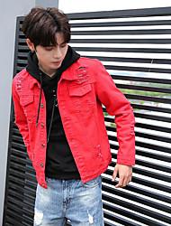 Недорогие -Для мужчин Праздники Большие размеры Осень Джинсовые куртки Рубашечный воротник,Простой Уличный стиль Однотонный Короткая Длинный рукав,