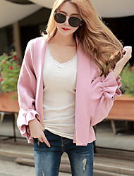 cheap -Women's Daily Going out Casual Solid Shirt Collar Sweater Cardigan, Long Sleeves Spring Fall