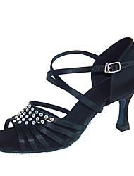 abordables -Femme Chaussures Latines Flocage / Satin Sandale / Talon Professionnel Talon Personnalisé Personnalisables Chaussures de danse Noir