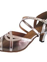 economico -Da donna Balli latino-americani Finta pelle Sandali Per interni Tacco su misura Grigio argento