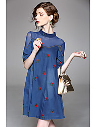 cheap -Women's Daily A Line Dress,Embroidered Stand Above Knee Half Sleeve Polyester Fall Mid Rise Micro-elastic Thin
