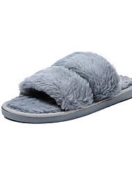 Feminino Sapatos Couro Ecológico Inverno Conforto Chinelos e flip-flops Dedo Apontado Para Casual Preto Cinzento Vermelho Rosa claro