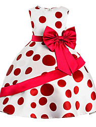 cheap -Girl's Daily Going out Solid Polka Dot Print Dress,Cotton Polyester Spring, Fall, Winter, Summer All Seasons Sleeveless Cute Casual
