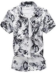 Masculino Camisa Social Casual Tamanhos Grandes Temática Asiática Outono Verão,Floral Algodão Poliéster Colarinho de Camisa Manga Curta
