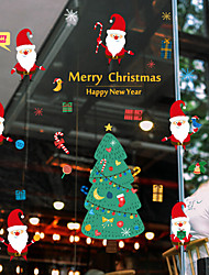 cheap -Person Christmas Window Sticker Material Window Decoration