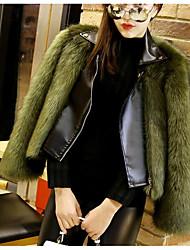 Недорогие -Жен. Пальто с мехом Воротник Питер Пен Уличный стиль - Однотонный