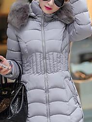 Недорогие -Жен. Большие размеры На выход Уличный стиль Обтягивающие На подкладке - Однотонный, Чистый цвет / Зима / Меховая оторочка