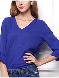Недорогие -Жен. Офис Сексуальные платья Рубашка, V-образный вырез Цветочный принт Полиэстер