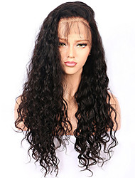 cheap -Remy Human Hair Lace Front Wig Chinese Hair Water Wave With Baby Hair 130% Density 100% Virgin African American Wig Natural Hairline