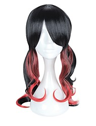 cheap -Women's Synthetic Wig Medium Long Black/Red Highlighted/Balayage Hair With Bangs Cosplay Wig Halloween Wig Costume Wig