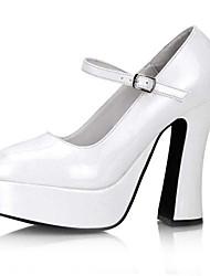 preiswerte -Damen Schuhe PU Frühling Herbst Pumps High Heels Blockabsatz Runde Zehe für Hochzeit Party & Festivität Weiß Schwarz Rot Rosa