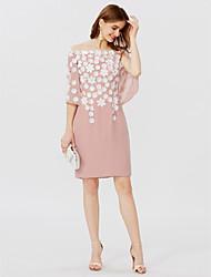 levne -Pouzdrové Krátký / Mini Šifón Koktejlový večírek Šaty s Květina(y) Sklady podle TS Couture®