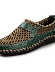 baratos -Homens sapatos Malha Respirável Couro Ecológico Tule Primavera Verão Conforto Mocassins e Slip-Ons Nulo Nulo / para Casual Preto Marron