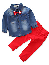 cheap -Boys' Party Daily Formal Clothing Set, Cotton Polyester Spring Fall All Seasons Long Sleeves Dresswear Bow Red