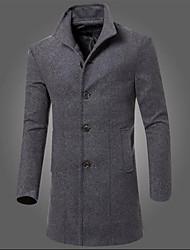 economico -Cappotto Da uomo Casual Stoffe orientali Autunno Inverno,Tinta unita A quadri Cotone Lungo Manica lunga