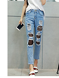 cheap -Women's Inelastic Jeans Pants Solid Patchwork