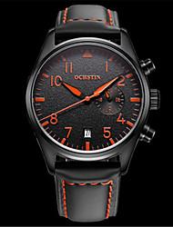 Недорогие -Муж. Наручные часы Модные часы Кварцевый Календарь Защита от влаги Фосфоресцирующий Кожа Группа На каждый день