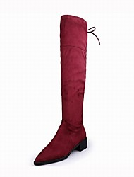 Women's Shoes Suede Winter Fluff Lining Fashion Boots Boots Chunky Heel Pointed Toe Thigh-high Boots For Office & Career Dress Red Black