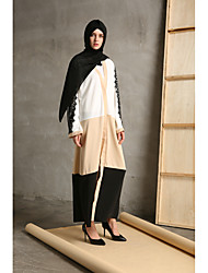 cheap -Women's Party Daily Wear Casual Kaftan Dress,Color Block Round Neck Maxi Long Sleeve Cotton/nylon with a hint of stretch All Season High