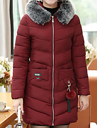 Women's Long Padded Coat,Casual Daily To-Go Solid-Polyester Long Sleeves