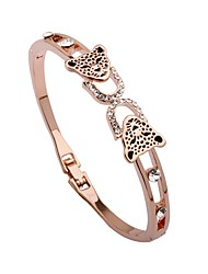 abordables -Femme Strass Plaqué or Adorable Manchettes Bracelets Bracelet - Animaux Forme de Cercle Léopard Or Rose Bracelet Pour Fête scolaire Sortie