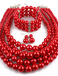 cheap -Women's Jewelry Set - Imitation Pearl Statement Include Drop Earrings / Pearl Strands / Pearl Necklace Red For Casual / Evening Party