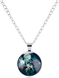 cheap -Men's Women's Mismatch Pendant Necklace  -  Animals Metallic Mismatch Circle Wolf Silver Bronze Necklace For Evening Party Holiday