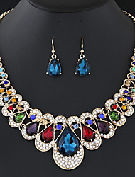 Women's Drop Earrings Necklace Synthetic Diamond Gift Fashion Elegant Colorful Party Gift Imitation Diamond Alloy Drop 1 Necklace Earrings