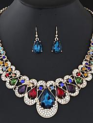Недорогие -Жен. Серьги-слезки Цепочка Синтетический алмаз Подарок Мода Elegant Цветной Для вечеринок Искусственный бриллиант Сплав Свисающие 1