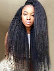abordables -Cheveux Rémy Perruque Droit crépu Avec Mèches Avant 100% vierge Perruque afro-américaine Ligne de Cheveux Naturelle Moyen Long 130%