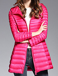 Women's Long Down Coat,Cute Casual Daily To-Go Solid-Polyester Long Sleeves