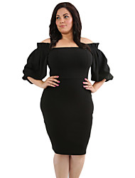 Women's Party Club Sexy Bodycon Dress,Solid Boat Neck Knee-length Half Sleeve Polyester Elastane Winter High Waist strenchy Thick