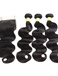 Недорогие -Индийские волосы Натуральные волосы Реми Естественные кудри Ткет человеческих волос 4шт 4 предмета
