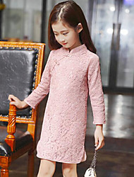 cheap -Girl's Daily Going out Solid Dress, Rayon Long Sleeves Chinoiserie Blue Blushing Pink Fuchsia