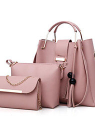 Women Bags PU Bag Set 3 Pcs Purse Set Zipper for Casual All Season Red Blushing Pink Beige Gray Camel