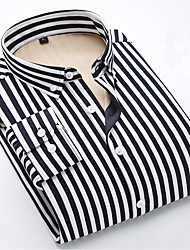 cheap -Men's Daily Street chic Autumn Shirt,Striped Shirt Collar Long Sleeves Cotton Thick