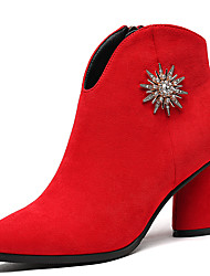 Women's Shoes Fur Winter Fashion Boots Bootie Combat Boots Boots Booties/Ankle Boots For Party & Evening Dress Red Black