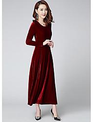 Gaine Balançoire Robe Femme Soirée Sortie simple,Couleur Pleine Col Arrondi Midi Manches longues Cachemire Hiver Automne Taille haute