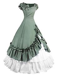 abordables -Victorien Gothique Epoque Médiévale Costume Femme Robes Costume de Soirée Bal Masqué Vert Vintage Cosplay Autre Coton Manches Courtes